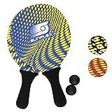 Sunflex Neopren Beachball Set Splash mit Zwei Schlägern und Zwei Bällen in blau| weich und leicht | extrem robust und wasserfest