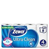 Zewa Ultra Clean Toilettenpapier, 8 Rollen mit je 135 Blatt, 4-lagiges Klopapier