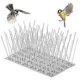 QIMEI-SHOP Taubenabwehr Spikes Edelstahl Vogelabwehr 12 Reihig x 25cm Gesamtlänge 300cm Vogelschreck für Balkon Dach Fenster Garten