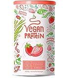 Vegan Protein ERDBEER - Pflanzliches Proteinpulver aus gesprossten Reis, Erbsen, Chia-Samen, Leinsamen, Amaranth, Sonnenblumen- und Kürbiskernen - 600 Gramm Pulver
