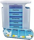 M&H-24 Tablettenbox Medikamentenbox Pillenbox für 7 Tage - Pillendose Medikamentendosierer Tablettendose Wochendosierer Woche mit 4-Fächer Morgens Mittags Abends Nachts
