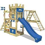 WICKEY Spielturm Ritterburg DragonFlyer mit Schaukel & blauer Rutsche, Spielhaus mit Sandkasten, Kletterleiter & Spiel-Zubehör