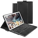 Jelly Comb Beleuchtete Tastatur Hülle mit Touchpad für Samsung Galaxy Tab A7 10.4 Zoll T505/T500/T507, Schützhülle mit Bluetooth Abnehmbarer QWERTZ Tastatur, 7 Farbige Hintergrundbeleuchtung, Schwarz