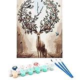 Xing Ye Malen Nach Zahlen Erwachsene Anfänger, DIY Handgemalt Ölgemälde Kits auf Leinwand Geschenk Malen Nach Zahlen Kits, Magischer Hirsch - 16*20 Zoll