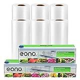 Eono by Amazon - Vakuumrollen Vakuumierfolie Folienbeutel-Vakuumbeutel - 6 Packungen 20cm x 5m & 28cm x 5m | mit 2 Cutter-Box | für Sous Vide oder Lebensmittel Lagerung | BPA frei