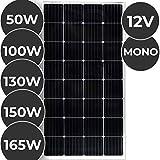 Monokristallin Solarmodul - 50 100 130 150 oder 165 W, 18 V für 12 V Batterien, Ladekabel - Photovoltaik Solarpanel, Solarladegerät, Solarzelle, Solaranlage für Wohnwagen, Camping, Balkon (50 W)