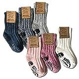 your+ ABS Kinder Norwegersocken - 3er Pack Gr. 32-26 warme Wintersocken Haussocken 40% Wolle naturwarm und flauschig (die Socken fallen groß aus) - (23-26, Weiß-Rosa)