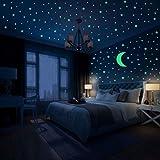 Hiveseen Leuchtsticker Wandtattoo, 402 PCS Leuchtende Sterne und Mondaufkleber ür Kinderzimmer Wohnzimmer Dekoration (A)