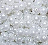 Unbekannt 100 x Kunstperle 14mm Perlen Wachsperlen Dekoperlen Bastelperlen mit Loch weiß