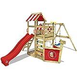 WICKEY Spielturm Klettergerüst SeaFlyer mit Schaukel & roter Rutsche, Baumhaus mit Sandkasten, Kletterleiter & Spiel-Zubehör