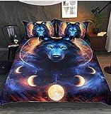 DXSX Bettwäsche Bettbezug 3D Wolf Theme Muster Bettbezug und Kissenbezug Easy Care Kinder Jungen Teenager Männer Bettwäsche (Kosmische Milchstraße Wolf, 135x200cm)