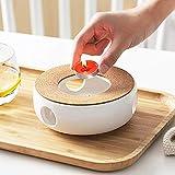 Stövchen Teekanne Basis Porzellan Heizung Keramik Weiß Teewärmer, Kaffeekocher Stövchen Basis Mit Korkmatte, Tee Herd Kochen Tee-Set Zubehör, Retro Teelichthalter