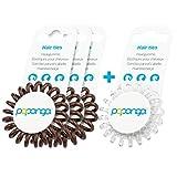 Original Papanga® Spiral Haargummi, 3+1 Vorteils-Pack, Classic Edition, Größe: Small, Farben: 3 x Chocolate + 1 x Diamond