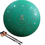 AiLaYveQi Stahlzungentrommel, Steel Tongue Drum, C-Key 11 Noten 12 Zoll Handtrommel, Schlaginstrument Handpan mit Trommelschlägeln/Tragetasche für Kinder oder Erwachsene(Grün)