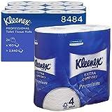 Kleenex Extra Komfort Toilettenpapier, Premium Großpackung, 4-lagig, 24 Rollen x 160 Blätter, Weiß, 8484