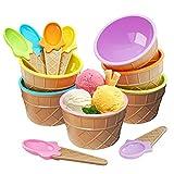 Mlryh Eisbecher mit Löffeln 6 Stück Frozen Joghurtbecher Langlebiger Kunststoff Bonbonfarbe Schöne Dessertschale DIY-Eiscreme Werkzeug für festliche Partys