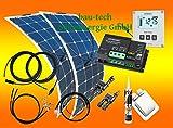 bau-tech Solarenergie 200 Watt Flexi Wohnmobil Camping Wohnmobil Solaranlage mit Votronic Laderegler und Solarcomputer, 12 Volt Set, GmbH