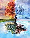 Malen nach Zahlen für Erwachsene DIY Ölgemälde-Set für Kinder Anfänger – Vier Jahreszeiten Baum des Lebens 40,6 x 50,8 cm