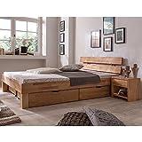 Eternity-Möbel Futonbett Schlafzimmerbett Massivholzbett Kernbuche Buche geölt Bett inkl. 2 x Bettkasten Liegefläche 180 x 200 cm