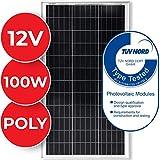 Polykristalline Solarmodul - 1 x 100 W, 18 V für 12 V Batterien, Ladekabel - Photovoltaik Solarpanel, Solarladegerät, Solarzelle, Solaranlage für Wohnwagen, Camping, Balkon
