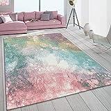 Paco Home Teppich Wohnzimmer Bunt Rosa Grün Türkis Pastell Farbverlauf Robust Kurzflor, Grösse:200x290 cm