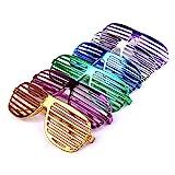 Schramm® 6 Stück Partybrille metallic 6 Farben Partybrillen Bunt Gitterbrille Spaß Spass Brille Atzen Brillen Party Brille 6er Pack