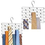 mDesign 2er-Set Krawattenhalter – edler Krawattenbügel für mindestens 23 Krawatten – Kleiderschrankzubehör für platzsparende Krawattenaufbewahrung – silberfarben