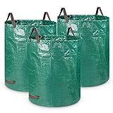 Orlegol 3x Gartensack, 272L & 300L Gartensäcke mit 4 Reißfeste Griffe, Gartenabfallsack aus Robustem Polypropylen-Gewebe (PP) -Selbststehend und Faltbar Laubsäcke, Abfallsäcke für Gras Laub Grünabfall