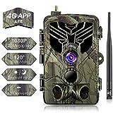 SUNTEKCAM 4G APP Wildkamera Mit Bewegungsmelder Nachtsicht HandyüBertragung& App 20MP 1080P Full HD Wildtierkamera mit 44 IR-LEDs Überwachungskamera Mit IP66 Wasserdicht Jagdkamera