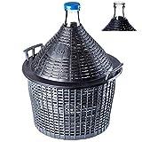 KADAX Glasballon, Gärballon mit Kunststoffkorb, Gummistopfen, schmale Öffnung, Weinballon, Flasche, Glasflasche, Gallone, Gärbehälter, Glasgärballon, Gäreimer (10L)