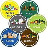 Aufkleber Mülltonne für Mülltrennung (6er Set - 9,5cm - Rund) - Kinder Freundliche Motive (Gelber Sack, Altglas, Altpapier, Restmüll, Biomüll) - UV-Schutz für Innen und Außen - Vorgestanzt - V4