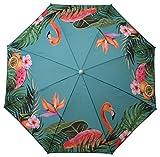 Sonnenschirm UV-Schutz 40+ Strandschirm Balkonschirm Schirm türkis bunt mit Flamingo tropisch Ø 155 cm