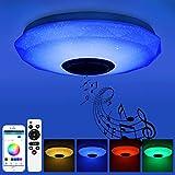 Prenine 36W LED Musik Deckenleuchte Dimmbar mit Bluetooth Lautsprecher 3400LM, RGB Farbwechsel, Musikwiedergabe, LED Deckenlampe Lampe für Küche,Schlafzimmer, Badezimmer, Wohnzimmer