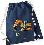 Turnbeutel für Jungen   Motiv Bagger & Baustelle   Stoffbeutel aus Baumwolle zum Zuziehen für Kinder   Zuziehrucksack mit Kordel (dunkelblau)
