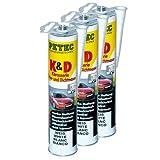 3x PETEC K&D Karosserie Klebe- und Dichtmasse Klebemasse Dichtmasse Karosseriekleber Klebstoff Kleber Kartusche 310ml weiß