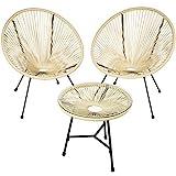 TecTake 800730 2er Set Acapulco Garten Stuhl mit Tisch, Lounge Sessel im Retro Design, Indoor und Outdoor, pflegeleicht, Relaxsessel zum gemütlichen Sitzen - Diverse Farben - (Beige | Nr. 403310)