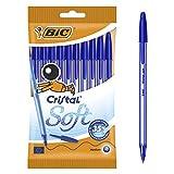 BIC Kugelschreiber Cristal Soft – Extrem weiche Kulis in 10er Packung – Blau
