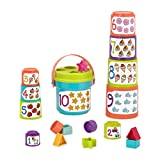 Battat – Stapelbecher zum Sortieren mit Zahlen und Formen – Formensortierspiel und Stapeln für Kinder und Babys ab 18 Monaten (19 Teile)