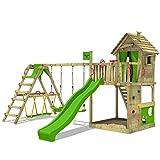 FATMOOSE Spielturm Klettergerüst HappyHome mit Schaukel SurfSwing & apfelgrüner Rutsche, Spielhaus mit Sandkasten, Leiter & Spiel-Zubehör