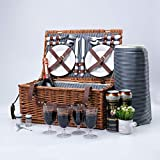 Arkmiido Retro Classic Picknickkorb für 4 Personen aus Weidenholz Bringen Meiner Familie Eine WunderVolle Picknick Wochenendzeit