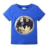 Jungen Mädchen T-Shirt aus Baumwolle mit kurzen Ärmeln und Pailletten, Magic 3 – 8 Jahre Gr. 120 cm, blau