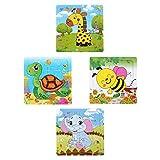 HEZIJIA 4 Stück Holzpuzzles Spielzeug Einlegepuzzle ab 2-5 Jahren Jigsaw Puzzle Für Kinder Tierpuzzle