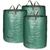 com-four® 3X Gartensack mit Tragegriffen - Faltbarer Gartenabfallsack XL - Reißfeste Falttonne für Laub und Grünschnitt (300 l - 3 Stück)