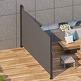 SogesPower Markise Einziehbare Seitenmarkise, Sonnenschutz, Sichtschutz für Garten, Balkon, Terrasse - 300X160cm