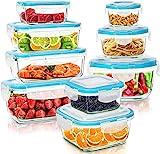 KICHLY Glasbehälter mit deckel - 18 Teile (9 Behälter, 9 Deckel) - Glas-Frischhaltedosen Spülmaschinen, Mikrowellen & Gefrierschrankfreundlich - Auslaufsicher, BPA-frei, FDA & FSC zugelassen