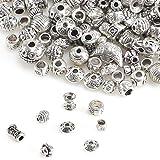 XHXSTORE 100g Zwischenperlen Silber Metallperlen Perlenkappen Metall Perlen für Armbänder zum Basteln Bastelperlen Set Spacer Perlen mit Loch zum Auffädeln Schmuckzubehör