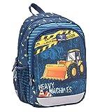 Belmil Kindergartenrucksack mit Brustgurt und Namensschild für 3-6 Jährige/Jungen / 12 L/Krippenrucksack Kindergartentasche Kindertasche/Bagger/Blau (305-4/A Heavy Machinery)