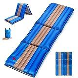 SGODDE Isomatte Aufblasbare Matratzen, Erweiterbar 3-faltbar 12 cm dick Camping Selbstaufblasbare Luftmatratze, Ultraleicht und Tragbare,Wasserdicht und Rutschfest Handpresse Schlafmatte