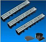Entwässerungsrinne Garagenset 3 Meter Komplett SET Gitterrost Stahl verzinkt