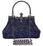 Selighting Abendtaschen Damen Vintage Clutch Tasche mit Perlen Elegant Handtasche Umhängetasche für Party Hochzeit Bankett (Blau)